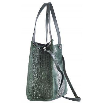 Zielona torebka skórzana na ramię