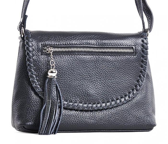 Czarna torebka skórzana listonoszka z frędzlami