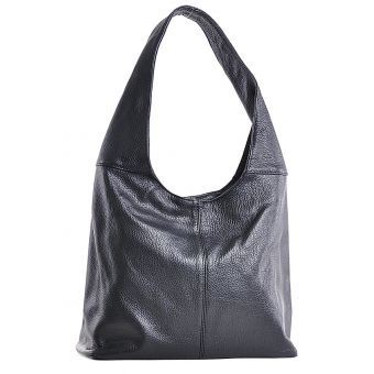 Czarna torba skórzana na ramię worek