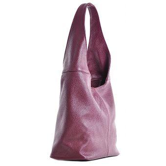 Włoska torebka skórzana bordowa