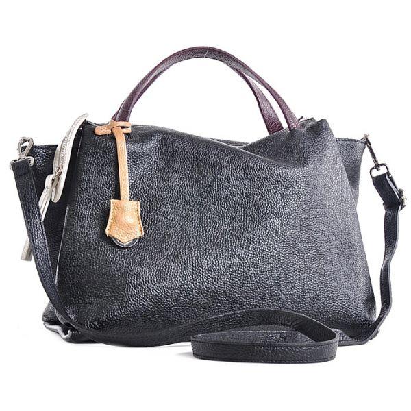 Modna czarna torebka na ramię damska ze skóry
