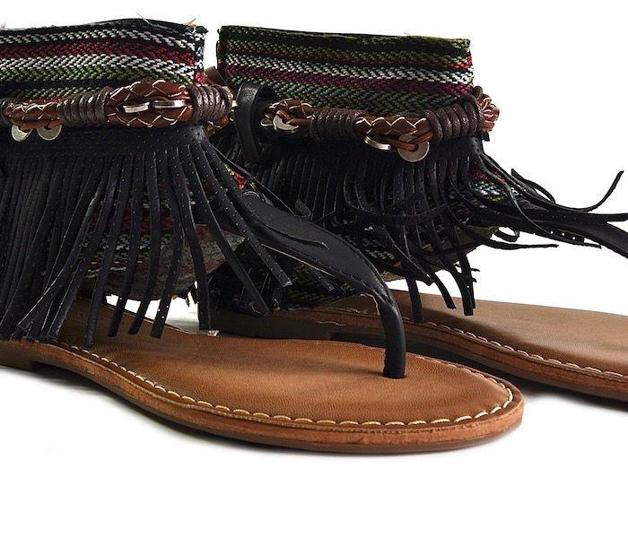 Sandały damskie boho z frędzlami