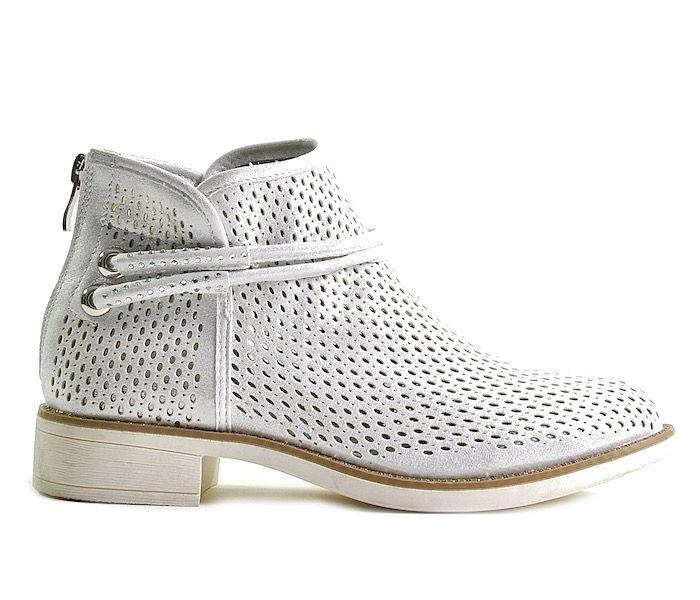 Inteligentny Srebrne buty damskie botki ażurowe FY89