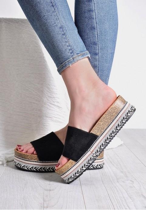 Letnie buty na platformie czarne