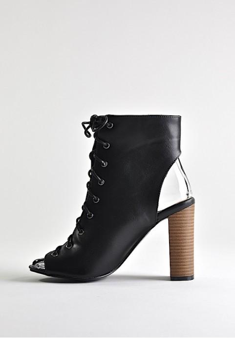Czarne buty damskie bez palców i bez pięty