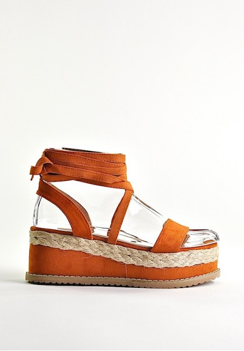 Buty damskie sandały wiązane pomarańczowe