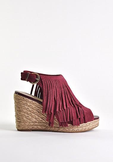 Bordowe sandały damskie na...