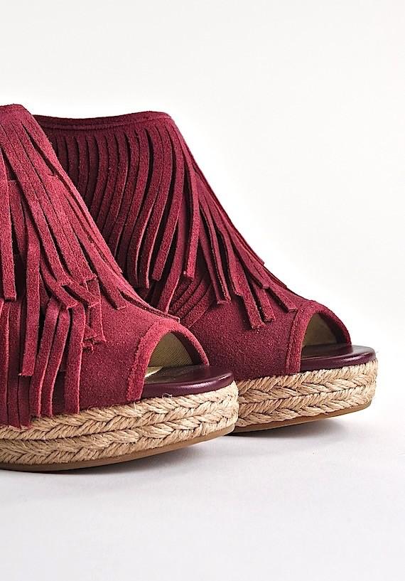 sandały damskie na obcasie bordowe