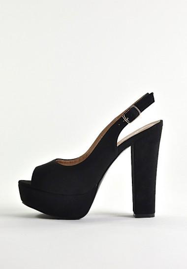 Czarne sandały na grubym...