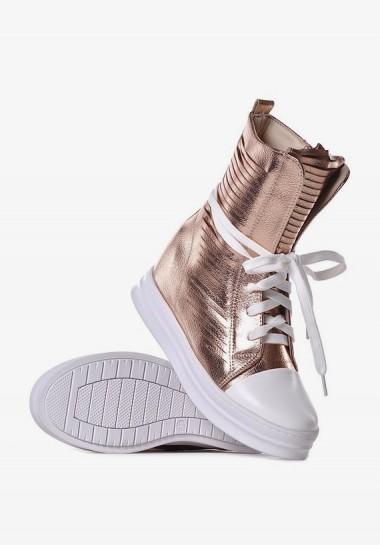 Buty złote damskie na koturnie