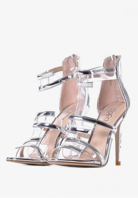 Srebrne sandały damskie szpilki
