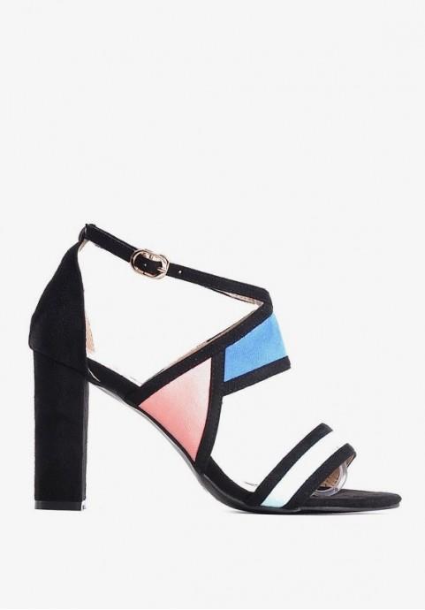 Kolorowe sandały damskie na słupku