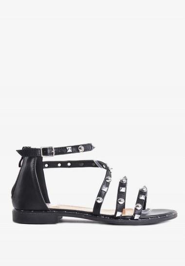Czarne płaskie sandały...