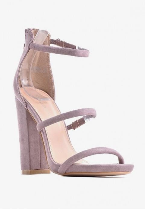 Zamszowe sandały damskie na słupku eleganckie