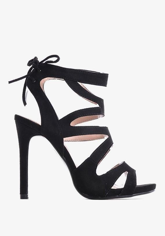 Czarne sandały na szpilce z wiązanymi paskami