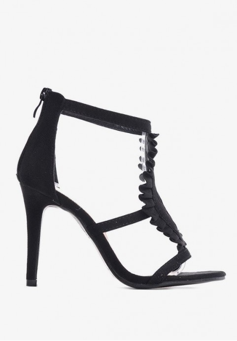 Sandały na obcasie czarne zamszowe eleganckie