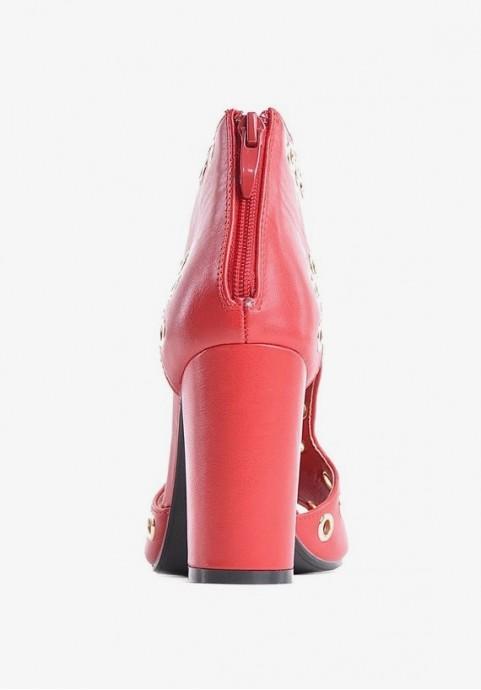 Czerwone sandały damskie na obcasie