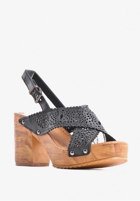Sandały damskie na drewnianej podeszwie