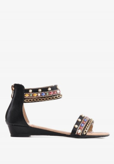 Czarne płaskie sandały z...