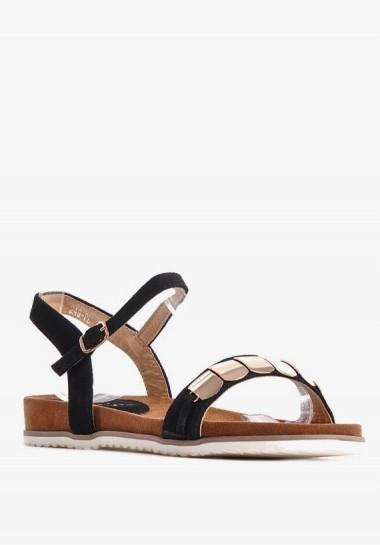 Czarne sandały damskie płaskie