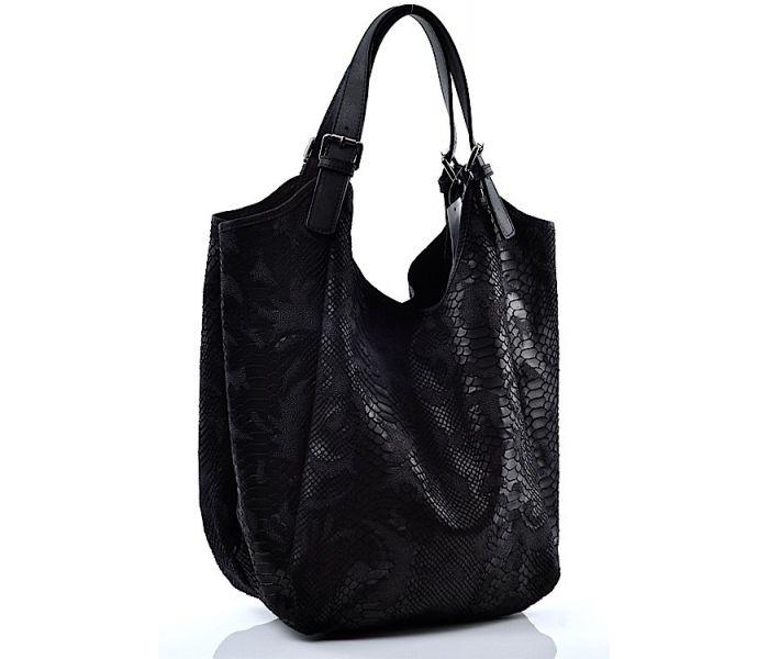 534296a3b2ed4 Czarna duża torba damska skórzana