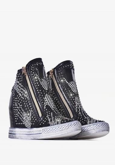 Sneakersy czarne damskie na...