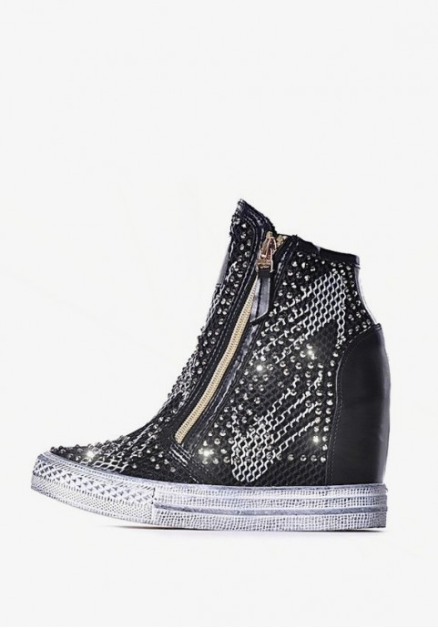 Sneakersy czarne damskie na koturnie