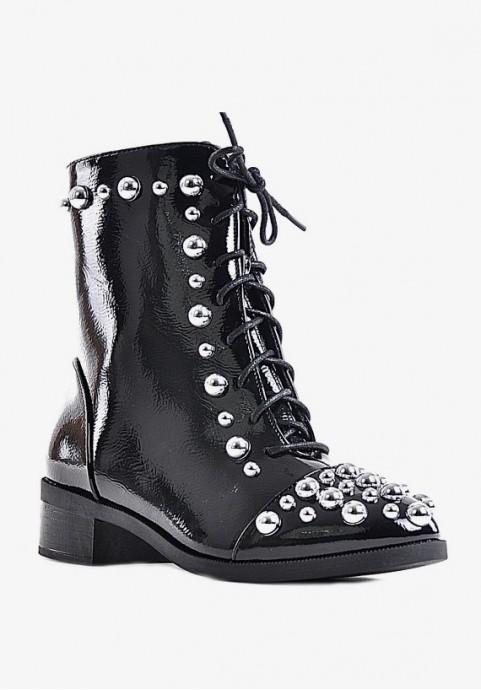 Lakierowane botki damskie czarne