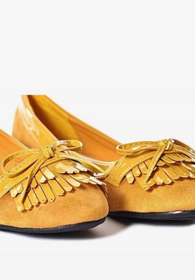 Żółte balerinki damskie na...