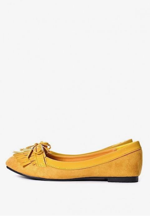 Żółte balerinki damskie na płaskim zamszowe