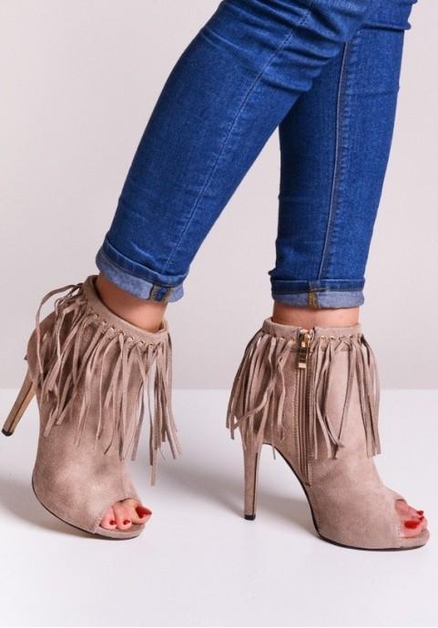 Botki damskie na obcasie z frędzlami beżowe buty
