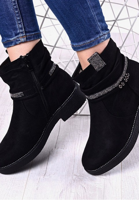 Czarne botki damskie za kostkę
