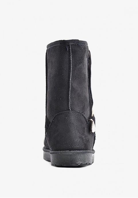 Czarne mukluki damskie z kożuszkiem