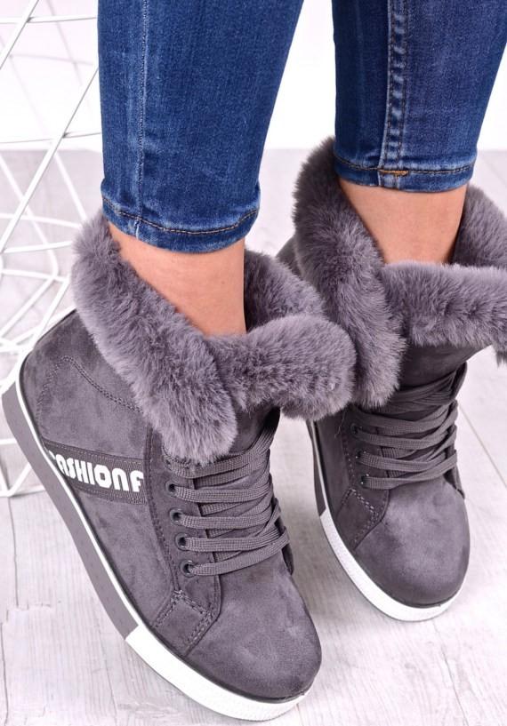 Szare buty damskie sportowe z futerkiem