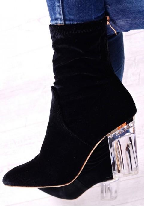 Czarne botki na przeźroczystym obcasie