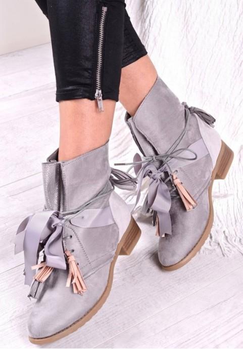 Szare buty damskie botki