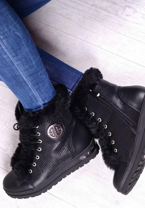 Czarne sneakersy damskie z futerkiem