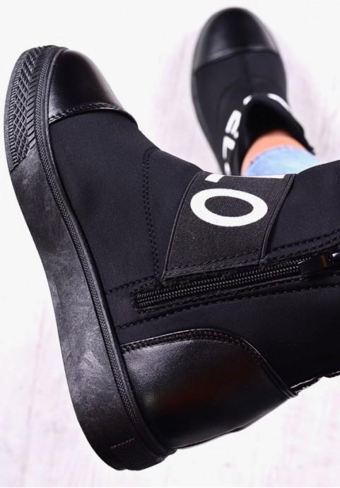 Czarne botki na koturnie ocieplane