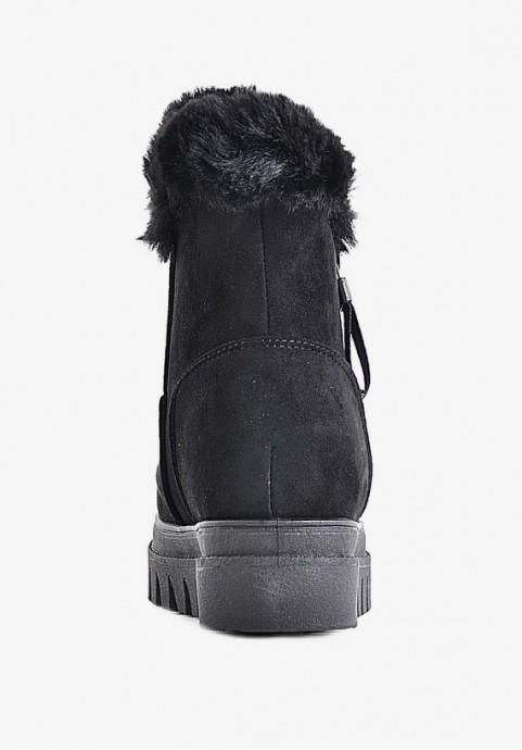 Zimowe buty damskie czarne z futerkiem