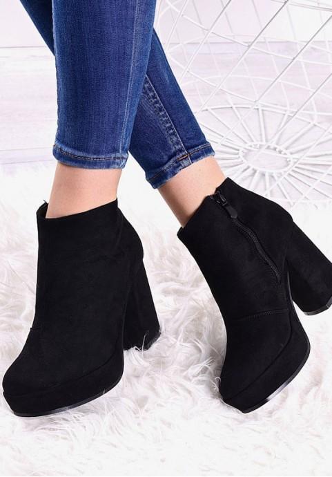 Czarne botki damskie na platformie