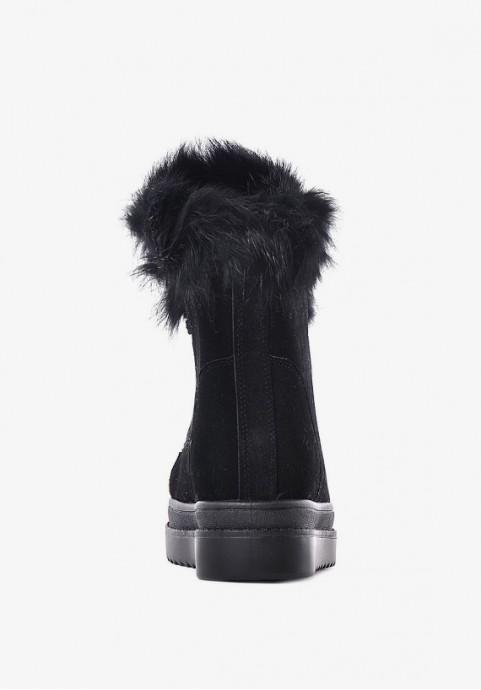 Czarne botki damskie na koturnie buty na zimę sznurowane