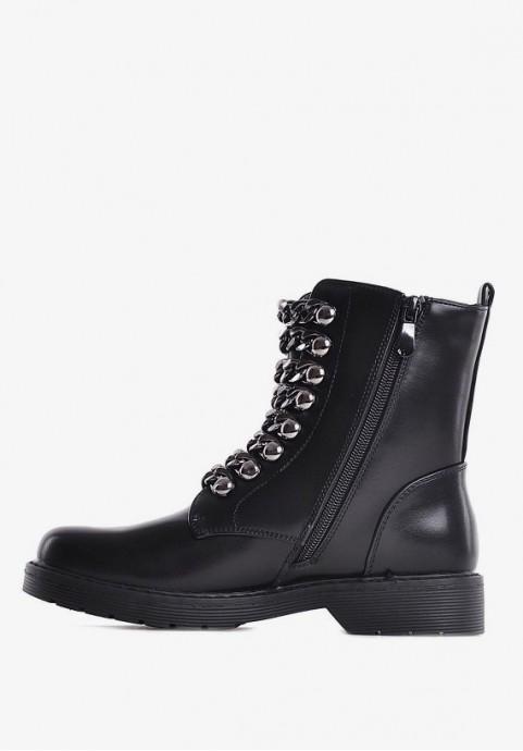 Czarne botki damskie za kostke