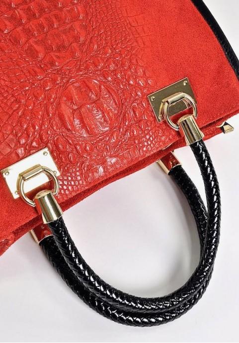Gustowna skórzana torebka włoska kuferek czerwony
