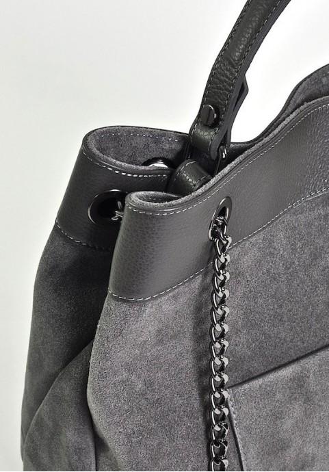 Włoska torebka damska szara z zamszu