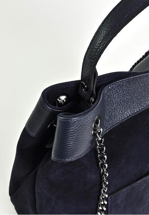 Granatowa skórzana torebka włoska