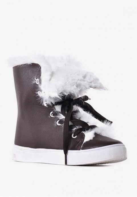 Buty zimowe damskie z futerkiem sneakersy na zimę