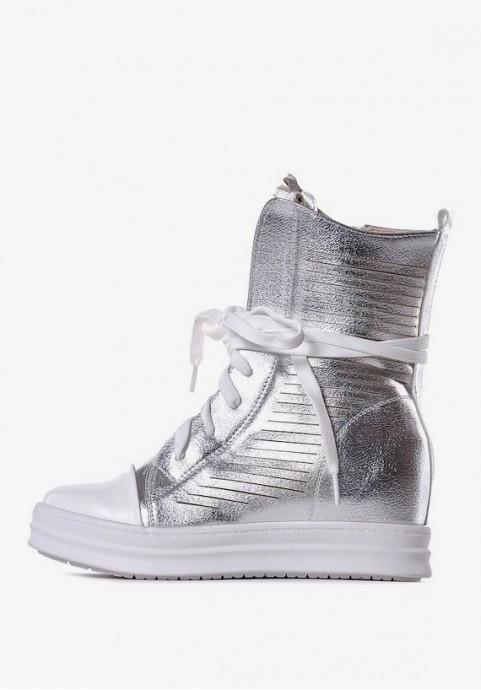 Buty srebrne damskie na koturnie