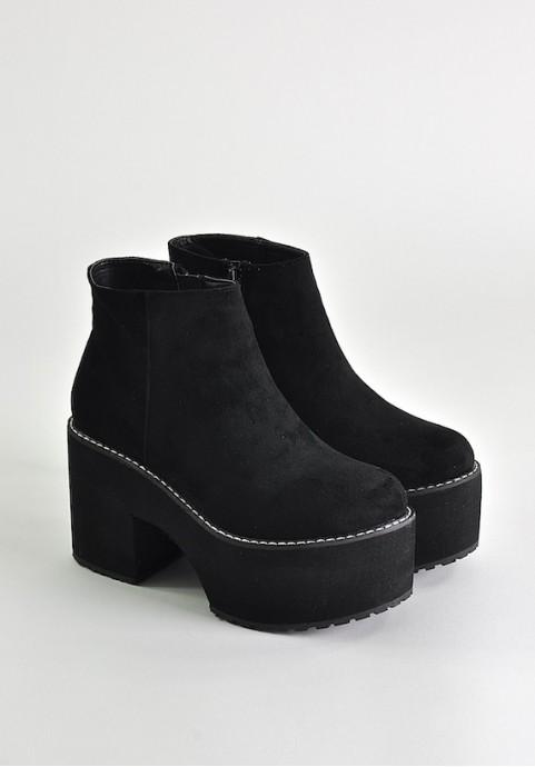 Czarne botki na platformie