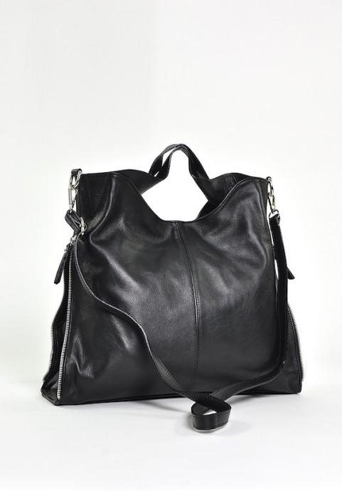 Czarna torebka skórzana damska duża