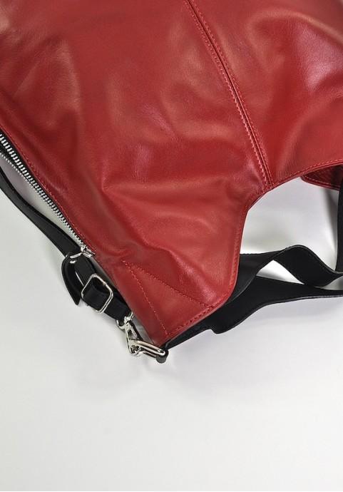Włoska czerwona torba skórzana worek